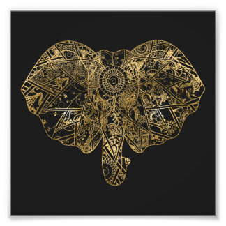 Gullig blommigt för elefanthand plockadeHenna Fototryck