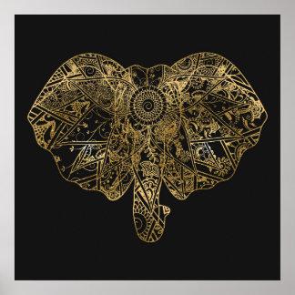 Gullig blommigt för elefanthand plockadeHenna Poster