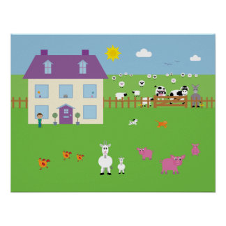 Gullig boskap & husaffisch poster