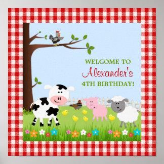 Gullig boskapfödelsedagsfestaffisch poster