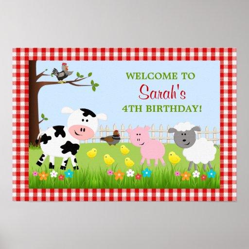 Gullig boskapfödelsedagsfestaffisch posters