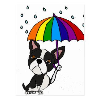 Gullig Boston Terrier med paraplytecknaden Vykort