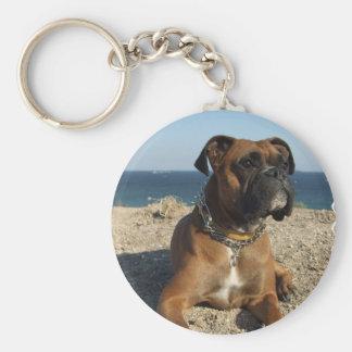 Gullig boxarehund Keychain Rund Nyckelring