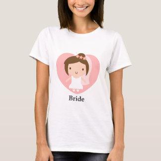 Gullig bröllopbrudflicka i vitkappa t shirt