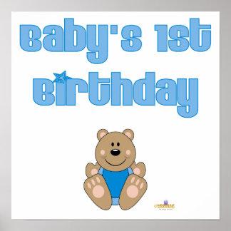 Gullig brun baby för björnblåtthaklapp 1st födelse print