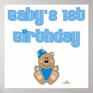 Gullig brun baby för hatt för björnblått enfaldig  print