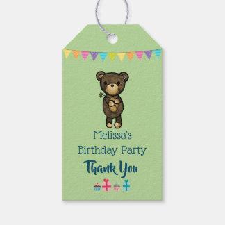 Gullig brun björn med gult blommafödelsedagtack presentetikett