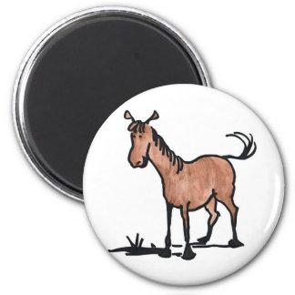 Gullig brun häst magnet rund 5.7 cm
