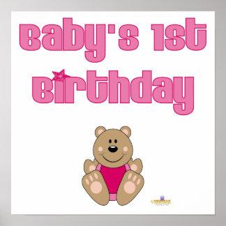 Gullig brun rosa haklappbaby för björn 1st födelse poster