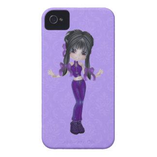 Gullig brunettflickablackberry fodral iPhone 4 Case-Mate skydd