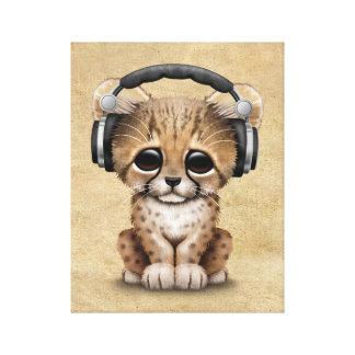 Gullig Cheetahunge Dj som ha på sig hörlurar Canvastryck