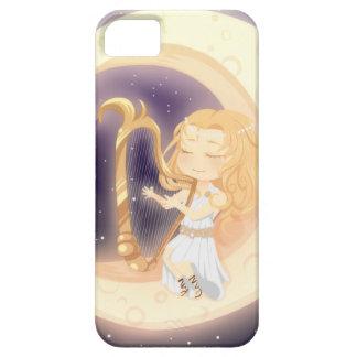 Gullig Chibi flicka som leker harpan på månen iPhone 5 Cover