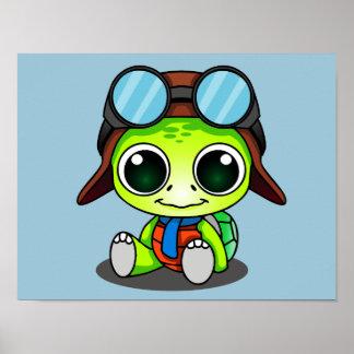 Gullig Chibi flygaresköldpadda Poster