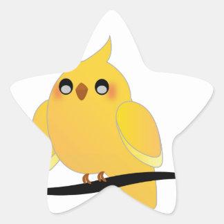 Gullig cockatiel på en fatta stjärnformat klistermärke