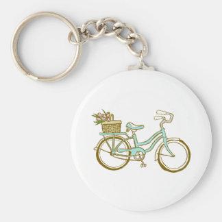 Gullig cykel med tulpan rund nyckelring
