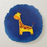 Gullig dekorativ kudde för giraffpolyesterrunda rund kudde