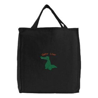 Gullig design för alligatoralligatorbroderi kasse