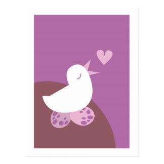 Gullig disktanthögtalarekärlekfågel vykort