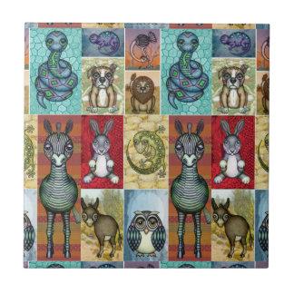 Gullig djur design för Folk konst för Collage Liten Kakelplatta