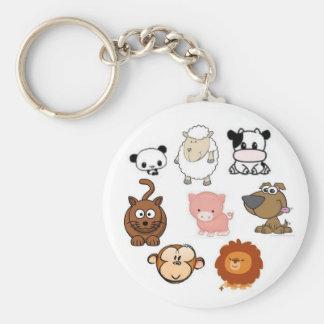 Gullig djur keychain rund nyckelring