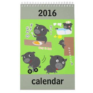 Gullig djur teckenkalender kalender