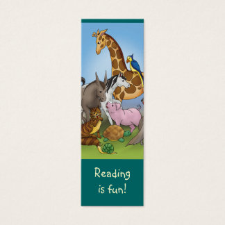 Gullig djurbokmärke för barnbokälskare! litet visitkort
