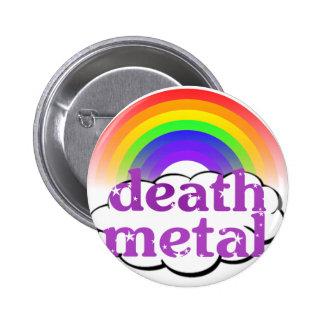Gullig dödmetallregnbåge standard knapp rund 5.7 cm