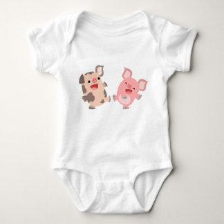 Gullig dräkt för baby för danstecknadgrisar t-shirt