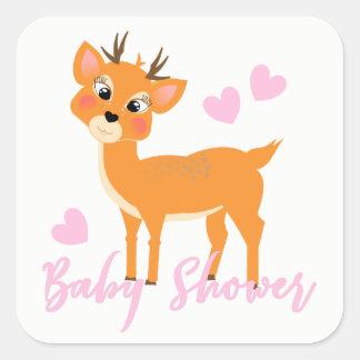 Gullig dusch för flicka för stollighjortvinter fyrkantigt klistermärke