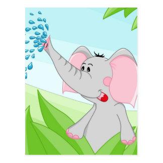 Gullig elefant i gräs vykort