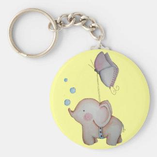 Gullig elefant med fjärilsnyckelringen rund nyckelring