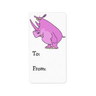 gullig enfaldig rosa noshörningnoshörningtecknad adressetikett