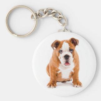 Gullig engelsk bulldoggvalp Keychain Rund Nyckelring