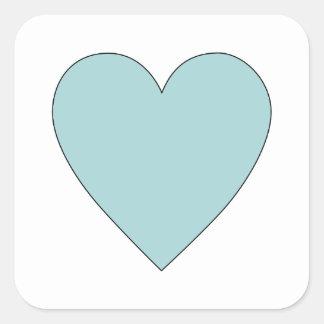 Gullig enkel hjärta för Aqua Fyrkantigt Klistermärke