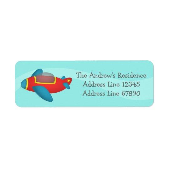 Gullig färgglad flygplanjetför barn returadress etikett