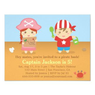 Gullig färgglad piratfödelsedagsfest 10,8 x 14 cm inbjudningskort