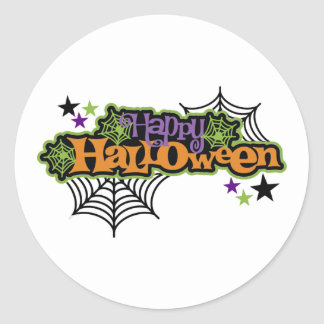 Gullig festlig happy halloween runt klistermärke