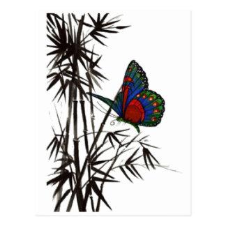 gullig fjäril i bambu vykort