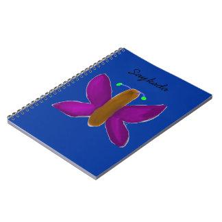 Gullig fjärilsanteckningsbok anteckningsbok med spiral
