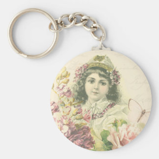 Gullig flickakeychain för vintage med härliga rund nyckelring