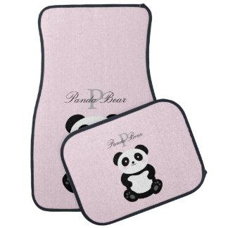 Gullig flickaktigt Monogram för babyPandabjörn Bilmatta