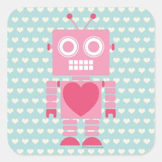 Gullig flickaktigt robot fyrkantigt klistermärke