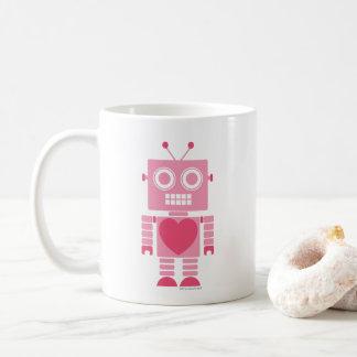 Gullig flickaktigt robot kaffemugg