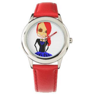 Gullig flickaktigt rödhårigteckningklocka armbandsur