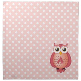 Gullig flickaktigt rosa ugglapolka dotsservett tygservett