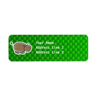 Gullig flodhäst; Grönt Returadress Etikett