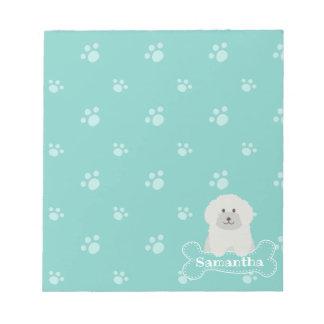 Gullig fluffig Monogram för hund älskare för Anteckningsblock