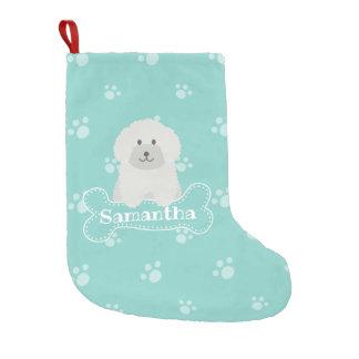 Gullig fluffig Monogram för hund älskare för Liten Julstrumpa