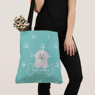 Gullig fluffig Monogram för hund älskare för Tygkasse