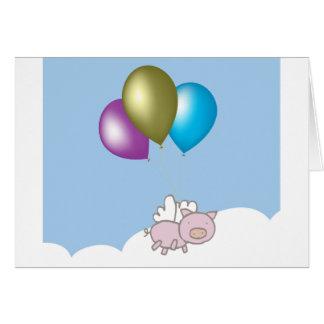 Gullig flyggris- och ballongkonst OBS kort